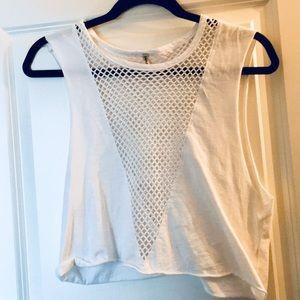 LF white mesh tank top